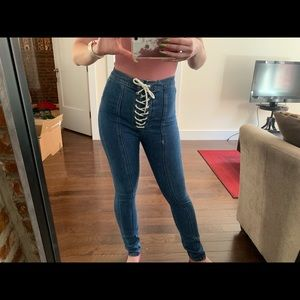 BDG Lace Up High Waisted Jeans